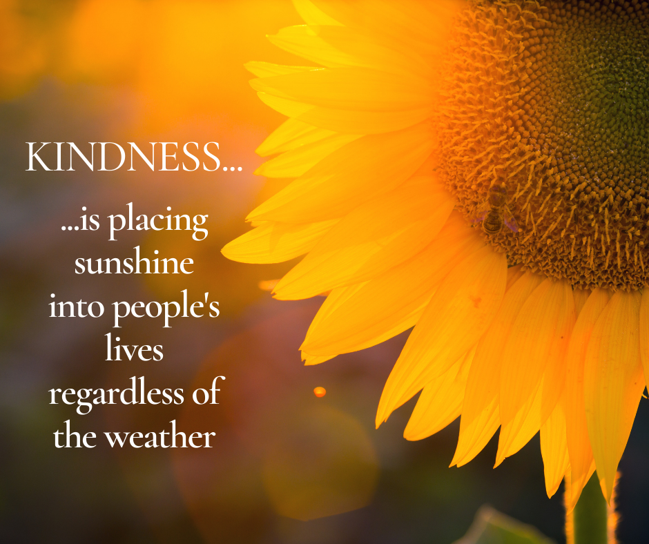 Kindness is placing sunshine into people's lives regardless of the weather
